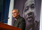 Jan. 18, 2016; Rev. John I. Jenkins, C.S.C., president of the University of Notre Dame offers a reflection at the Martin Luther King, Jr. Celebration Luncheon 2016.  (Photo by Barbara Johnston/University of Notre Dame)
