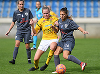20190813 - DENDERLEEUW, BELGIUM : PAOK's Dimitra Karapetsa (right) pictured in a duel with LSK's Mille Dalen (left) during the female soccer game between the Greek PAOK Thessaloniki Ladies FC and the Norwegian LSK Kvinner Fotballklubb Ladies , the third and final game for both teams in the Uefa Womens Champions League Qualifying round in group 8 , Tuesday 13 th August 2019 at the Van Roy Stadium in Denderleeuw  , Belgium  .  PHOTO SPORTPIX.BE for NTB | DAVID CATRY