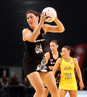 23.09.2012 Silver Ferns Jodi Brown in action during the third netball test match between the Silver Ferns and the Australian Diamonds at CBS Canterbury Arena in Christchurch. Mandatory Photo Credit ©Michael Bradley.