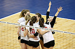 SIOUX FALLS, SD - DECEMBER 8:  Lewis celebrates a point against Wheeling Jesuit during their quarterfinal match at the 2016 Women's Division II Volleyball Championship at the Sanford Pentagon in Sioux Falls, SD. (Photo by Dave Eggen/Inertia)