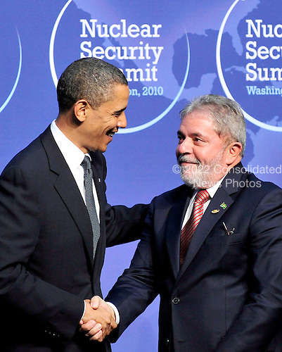 United States President Barack Obama welcomes President Luiz Inácio Lula da Silva of Brazil to the Nuclear Security Summit at the Washington Convention Center, Monday, April 12, 2010 in Washington, DC. .Credit: Ron Sachs / Pool via CNP