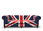 Sofa with a patriotic Union Jack pattern on it. Isolated on white background with clipping path