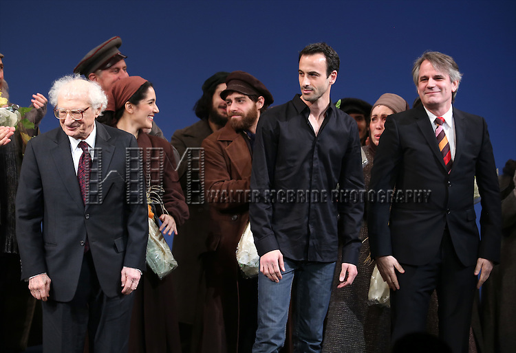 Sheldon Harnick, Hofesh Shechter and Bartlett Sher during the Broadway Opening Night Performance Curtain Call bows for 'Fiddler On The Roof'  at the Broadway Theatre on December 20, 2015 in New York City.