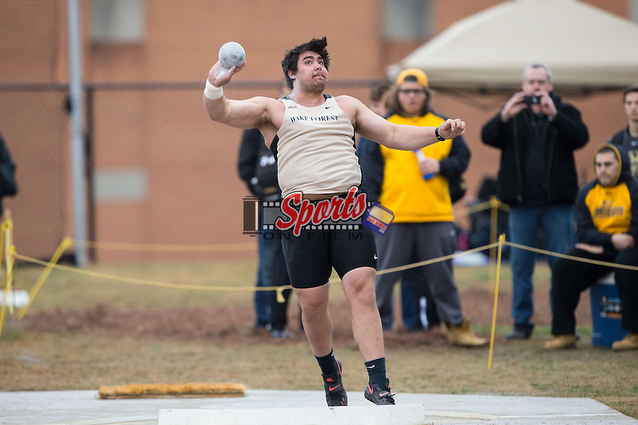 John Maurins of the Wake Forest Demon Deacons competes in the men's shot put at the Wake Forest Open on March 20, 2015 in Winston-Salem, North Carolina.  (Brian Westerholt/Sports On Film)