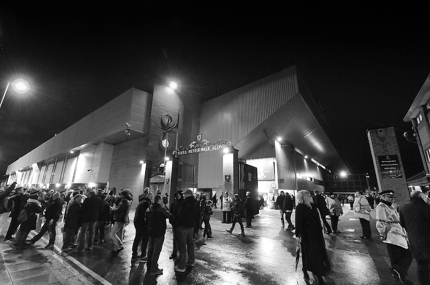 Fans gather outside Anfield, home of Liverpool<br /> <br /> Photographer Dave Howarth/CameraSport<br /> <br /> Football - UEFA Champions League Group B - Liverpool v Basel - Tuesday 9th December 2014 - Anfield - Liverpool<br /> <br /> &copy; CameraSport - 43 Linden Ave. Countesthorpe. Leicester. England. LE8 5PG - Tel: +44 (0) 116 277 4147 - admin@camerasport.com - www.camerasport.com