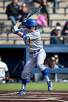 San Jose State Spartans outfielder Kellen Stahm (4) at bat against the Michigan Wolverines on March 27, 2019 in Game 1 of the NCAA baseball doubleheader at Ray Fisher Stadium in Ann Arbor, Michigan. Michigan defeated San Jose State 1-0. (Andrew Woolley/Four Seam Images)