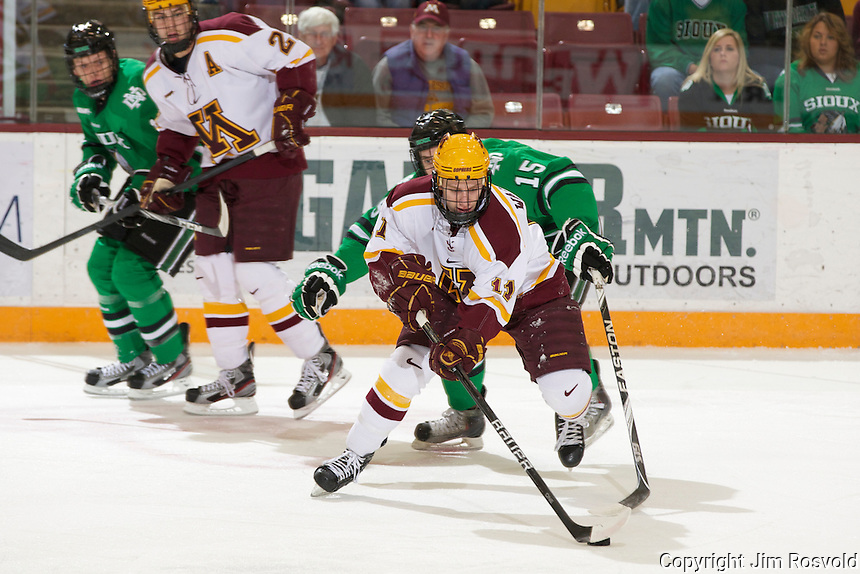4 Nov 11: Sam Warning (Minnesota - 11), Micheal Parks (North Dakota -15).The University of Minnesota Golden Gophers host the University of North Dakota Fighting Sioux in a WCHA matchup at Mariucci Arena in Minneapolis, MN.