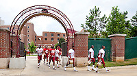 TALLAHASSEE, Fla. 8/8/11-FSU080811 CH-Florida State's football players enter the practice field on the opening day of camp Monday in Tallahassee. .COLIN HACKLEY PHOTO