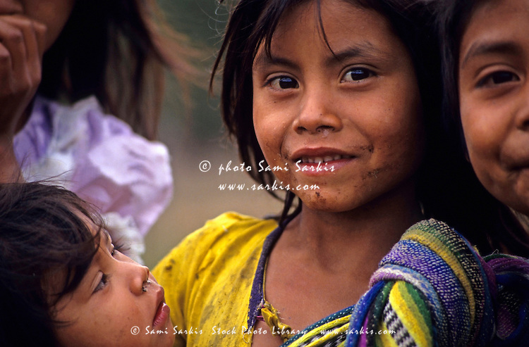 Young Guatemalan girls in a refugee camp, Santa Esmeralda, Chiapas, Mexico.
