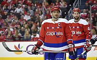 WASHINGTON, DC - APRIL 06: Washington Capitals left wing Alex Ovechkin (8) and right wing Tom Wilson (43) wait for a face-off during the New York Islanders vs. the Washington Capitals NHL game April 6, 2019 at Capital One Arena in Washington, D.C.. (Photo by Randy Litzinger/Icon Sportswire)