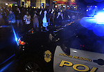 (Watertown Ma 041913) Residents cheer and celebrate as police vehicles leave the scene of the shoot out, Friday night on Mount Auburn Street in Watertown. (Jim  Michaud Photo) For Saturday