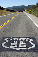 Historic U.S. Route 66, Sign, Painted on Roadway, Black Background, White Shield, Emblem, Lettering