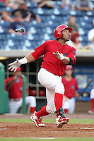 Clearwater Threshers Jonathan Singleton #3 hits a home run at bat during a game against the Daytona Cubs at Brighthouse Stadium on June 23, 2011 in Clearwater, Florida.  Clearwater defeated Daytona 6-5.  (Mike Janes/Four Seam Images)