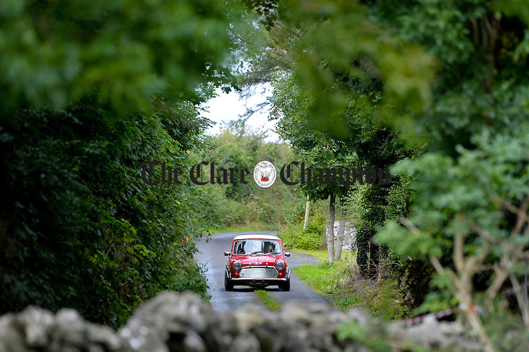 A Mini Cooper in action during Stage 3 of the Clare Stages Rally at Ruan. Photograph by John Kelly.