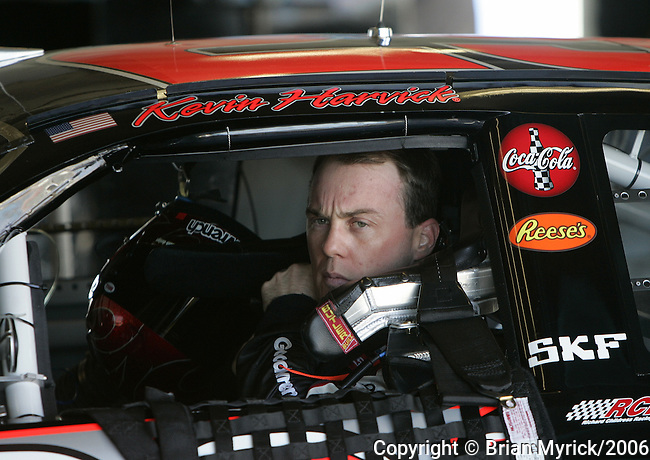 Kevin Harvick straps himself into the No. 29 Goodwrench Chevrolet during NASCAR Nextel Cup testing at Daytona International Speedway in Daytona Beach, Fla., Wednesday, January 18, 2006.(AP Photo/Brian Myrick)