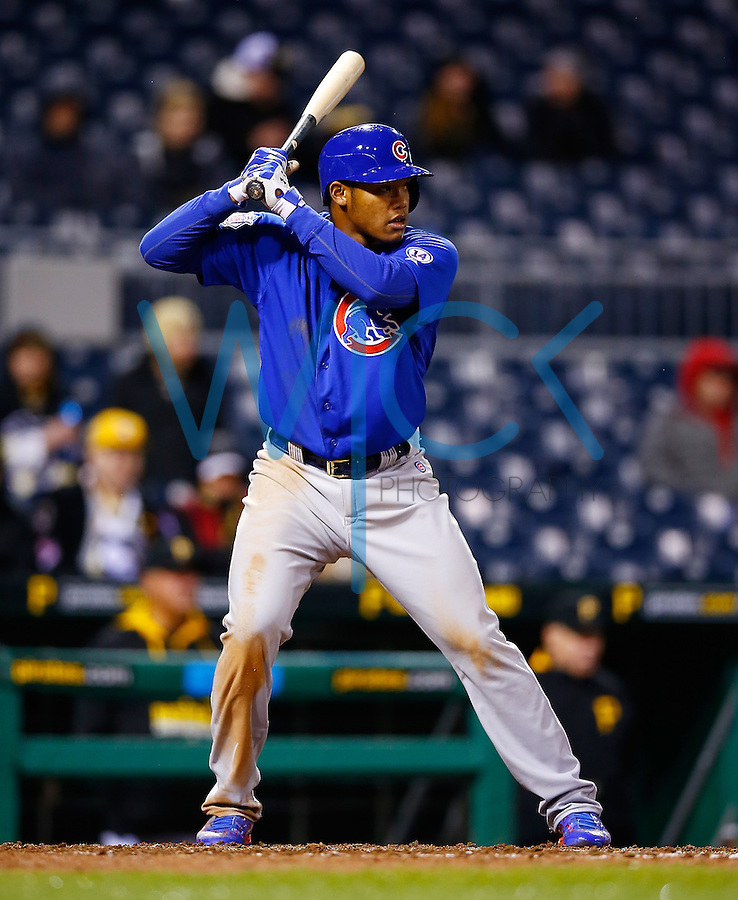 PITTSBURGH, PA - APRIL 22:  Addison Russell #22 of the Chicago Cubs in action against the Pittsburgh Pirates during the game at PNC Park on April 22, 2015 in Pittsburgh, Pennsylvania.  (Photo by Jared Wickerham/Getty Images)