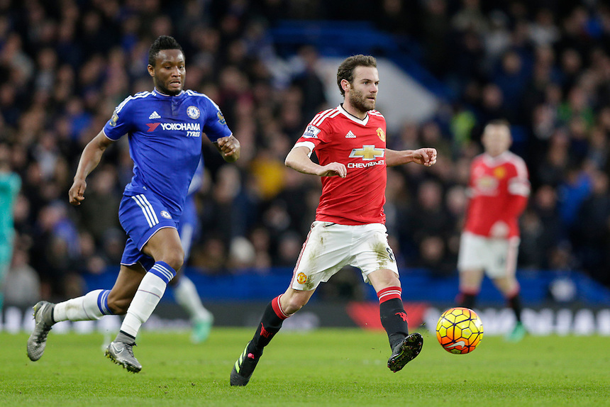Manchester United's Juan Mata in action during todays match  <br /> <br /> Photographer Craig Mercer/CameraSport<br /> <br /> Football - Barclays Premiership - Chelsea v Manchester United - Sunday 7th February 2016 - Stamford Bridge - London<br /> <br /> &copy; CameraSport - 43 Linden Ave. Countesthorpe. Leicester. England. LE8 5PG - Tel: +44 (0) 116 277 4147 - admin@camerasport.com - www.camerasport.com