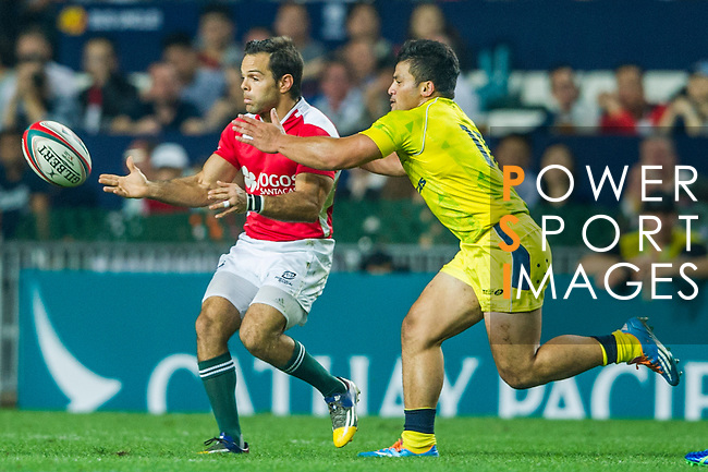 Australia vs Portugal during the HSBC Sevens Wold Series match as part of the Cathay Pacific / HSBC Hong Kong Sevens at the Hong Kong Stadium on 27 March 2015 in Hong Kong, China. Photo by Juan Manuel Serrano / Power Sport Images