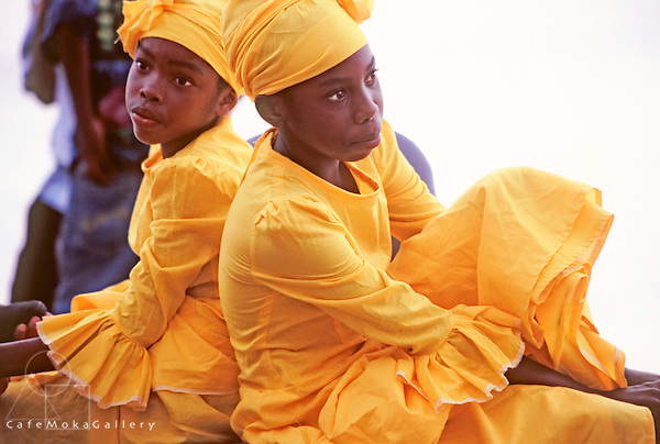 Young girls in yellow - pique dancers, Tobago Heritage Festival, Black Rock Sea Festival,Tobago