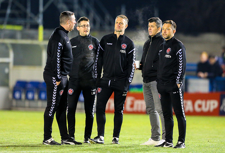 Fleetwood Town manager Joey Barton has a word with his coaching staff before the match<br /> <br /> Photographer Alex Dodd/CameraSport<br /> <br /> The Emirates FA Cup Second Round - Guiseley v Fleetwood Town - Monday 3rd December 2018 - Nethermoor Park - Guiseley<br />  <br /> World Copyright &copy; 2018 CameraSport. All rights reserved. 43 Linden Ave. Countesthorpe. Leicester. England. LE8 5PG - Tel: +44 (0) 116 277 4147 - admin@camerasport.com - www.camerasport.com