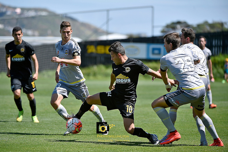 Team Wellington&rsquo;s Luis Corrales in action during the ASB Premiership Football - Team Wellington v Wellington Phoenix at David Farrington Park, Wellington, New Zealand on Sunday 20 December 2015.<br /> Photo by Masanori Udagawa. <br /> www.photowellington.photoshelter.com.