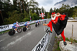 Didi the Devil cheers on Valcar PBM team during the Women's Team Time Trial of the 2018 UCI Road World Championships running 54.7km from Ötztal to Innsbruck, Innsbruck-Tirol, Austria 2018.<br /> Picture: Innsbruck-Tirol 2018 | Cyclefile<br /> <br /> <br /> All photos usage must carry mandatory copyright credit (© Cyclefile | Innsbruck-Tirol 2018)