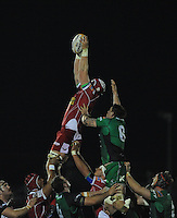 23rd November 2013; Jake Ball, Scarlets, wins a line out ahead of Connacht's. Eoghan Masterson. Rabodirect Pro12, Connacht v Scarlets, Sportsground, Galway. Picture credit: Tommy Grealy/actionshots.ie.