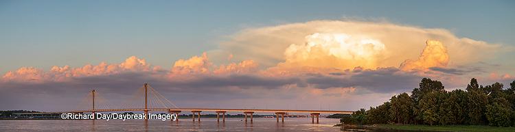 63895-15507 Clark Bridge over Mississippi River and thunderstorm (Cumulonimbus Cloud) Alton, IL