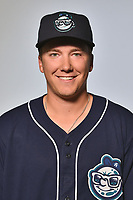 Asheville Tourists pitcher Matt Dennis (30) poses for a photo at Story Point Media on April 4, 2017 in Asheville, North Carolina. (Tony Farlow/Four Seam Images)