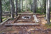 Man made campsite along Hancock Notch Trail in the White Mountain National Forest in New Hampshire during the autumn months.