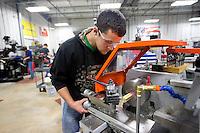 NWA Democrat-Gazette/JASON IVESTER<br /> Luke Vancuren (cq), Siloam Springs High senior, works in the school's machine tooling class Thursday, Feb. 23, 2017, as part of the Career Academy.