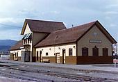 Durango depot trackside.<br /> D&amp;S  Durango, CO