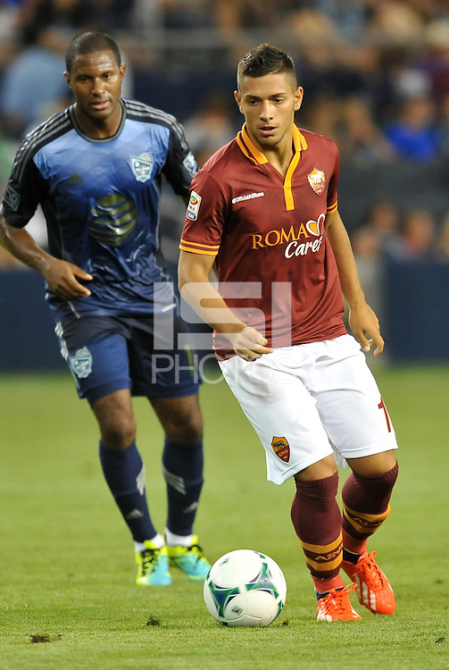 Sporting Park, Kansas City, Kansas, July 31 2013:<br /> Gianluca Caprari (18) forward AS Roma in action.<br /> MLS All-Stars were defeated 3-1 by AS Roma at Sporting Park, Kansas City, KS in the 2013 AT & T All-Star game.