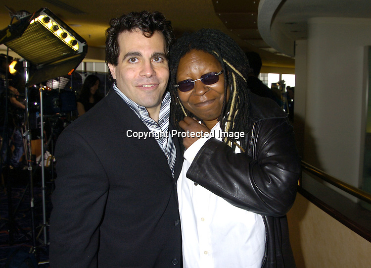 Mario Cantone and Whoopi Goldberg..at The 2005 Tony Awards Nominees Meet the Press Reception on May 11, 2005 at The Marriott Marquis Hotel. ..Photo by Robin Platzer, Twin Images
