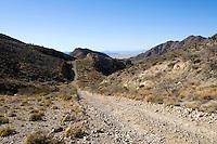 A dirt road running through the Mojave Desert, California.