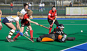 Hockey - Scottish Cup semi-finals at Peffermill - Edinburgh - Cala Edinburgh V Dundee Wanderers - Wanderers forward Jessica Ross (pse check) scores Wanderers second goal in their 4-1 victory - Picture by Donald MacLeod  1.4.12  07702 319 738  clanmacleod@btinternet.com