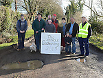 Residents pictured at one of the many potholes at Broomfield. Collon. Photo:Colin Bell/pressphotos.ie