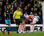 Peter Crouch of Stoke City sits with an injury - Capital One Cup Quarter-Final - Stoke City vs Sheffield Wednesday - Britannia Stadium - Stoke - England - 1st December 2015 - Picture Simon Bellis/Sportimage