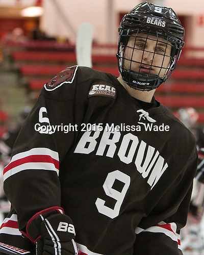 Matt Harlow (Brown - 9) - The Harvard University Crimson defeated the Brown University Bears 4-3 to sweep their first round match up in the ECAC playoffs on Saturday, March 7, 2015, at Bright-Landry Hockey Center in Cambridge, Massachusetts.