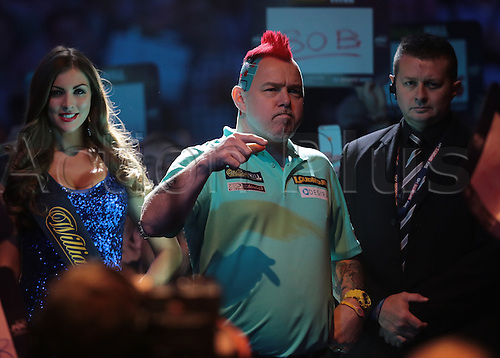 30.12.2015. Alexandra Palace, London, England. William Hill PDC World Darts Championship. Peter Wright starts dancing as he prepares to enter the stage