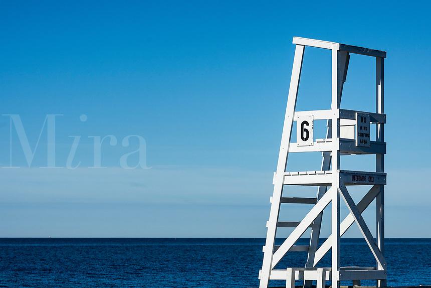 Lifeguard stand overlooking the ocean, West Dennis, Massachusetts, USA.