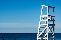 Lifeguard stand overlooking the ocean, West Dennis, Massachusetts, USA.