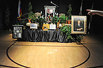 The stage in the gymnasium of Eureka College, alma matter of former U.S. President Ronald Reagan, is seen clad with gifts and artifacts of the college before a speech by Mikhail Gorbachev, the last premier of the Soviet Union, in Eureka, Illinois on March 27, 2009.  Gorbachev is to receive an honorary doctorate from the college, calling Reagan a partner whom he trusted.