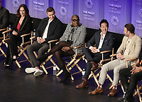 "HOLLYWOOD, CA - MARCH 17:  Jennifer Love Hewitt, Oliver Stack, Aisha Hinds, Kenneth Choi and Ryan Guzman at PaleyFest 2019 - Fox's ""9-1-1"" panel at the Dolby Theatre on March 17, 2019 in Hollywood, California. (Photo by Scott Kirkland/Fox/PictureGroup)"