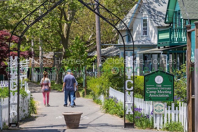 "One of the entrances to the Martha's Vineyard Camp Meeting Association (MVCMA) aka ""Wesleyan Grove"" in Oak Bluffs, Massachusetts."