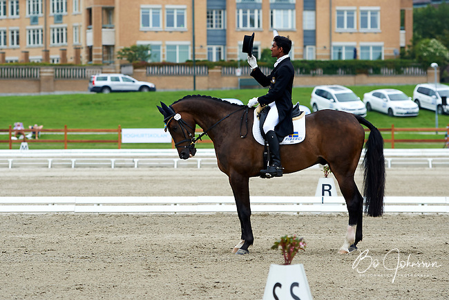 Theodor Wahren (SWE) riding EX2000 during the dressage test at Malmo City Horse Show. FEI World Cup Eventing Qualifier CIC***. <br />