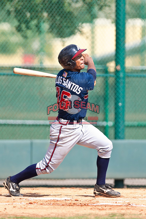 Ramon De Los Santos of the Gulf Coast League Braves during the game against the Gulf Coast League Phillies July 10 2010 at the Disney Wide World of Sports in Orlando, Florida.  Photo By Scott Jontes/Four Seam Images