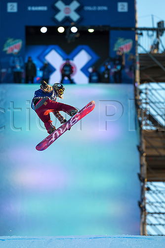 27.02.2016. Toyen, Big Jump Oslo, Norway.  Red Bull X Games Oslo 2016. Ladies Snowboard Big Air Final Kjersti Oestgaard Buaas of Norway in action during the Ladies Snowboard Big Air Final at the Red Bull X Games Oslo 2016 in Toyen Big Jump  Oslo, Norway.
