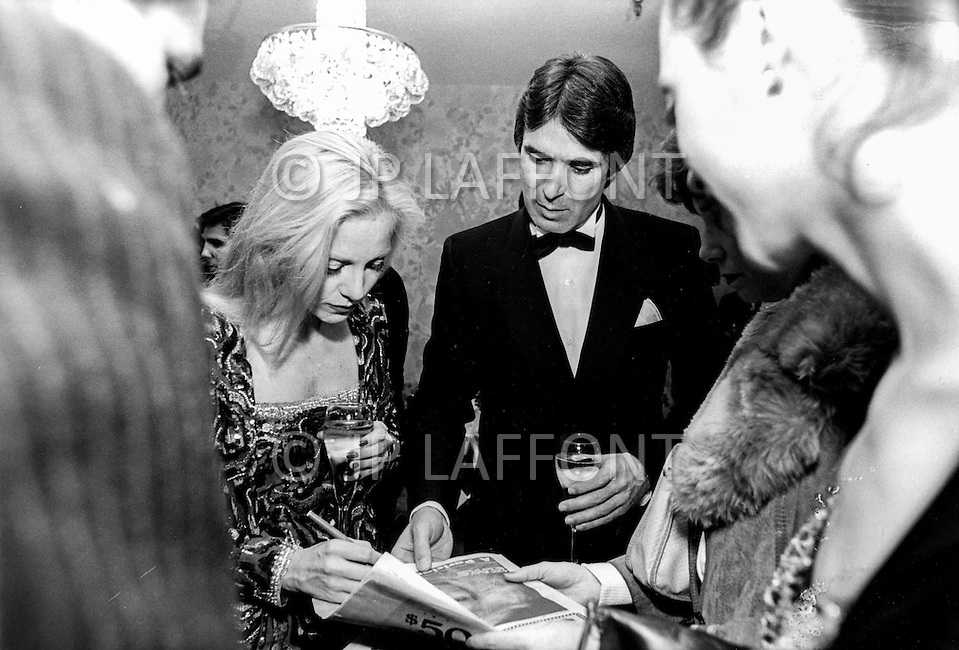 Las Vegas, Nevada, USA, December, 1982 - French Singer Sylvie Vartan at a party with her new love Tony Scotti in between performances at the MGM Hotel in Las Vegas.