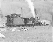 Engineer side view of RGS #74 arriving at Matterhorn with caboose #0400 to rescue stranded Goose #4.  #74 and caboose were cut off from excursion train #376 for the task.<br /> RGS  Matterhorn, CO  Taken by Grenard, Ross B. - 5/1949